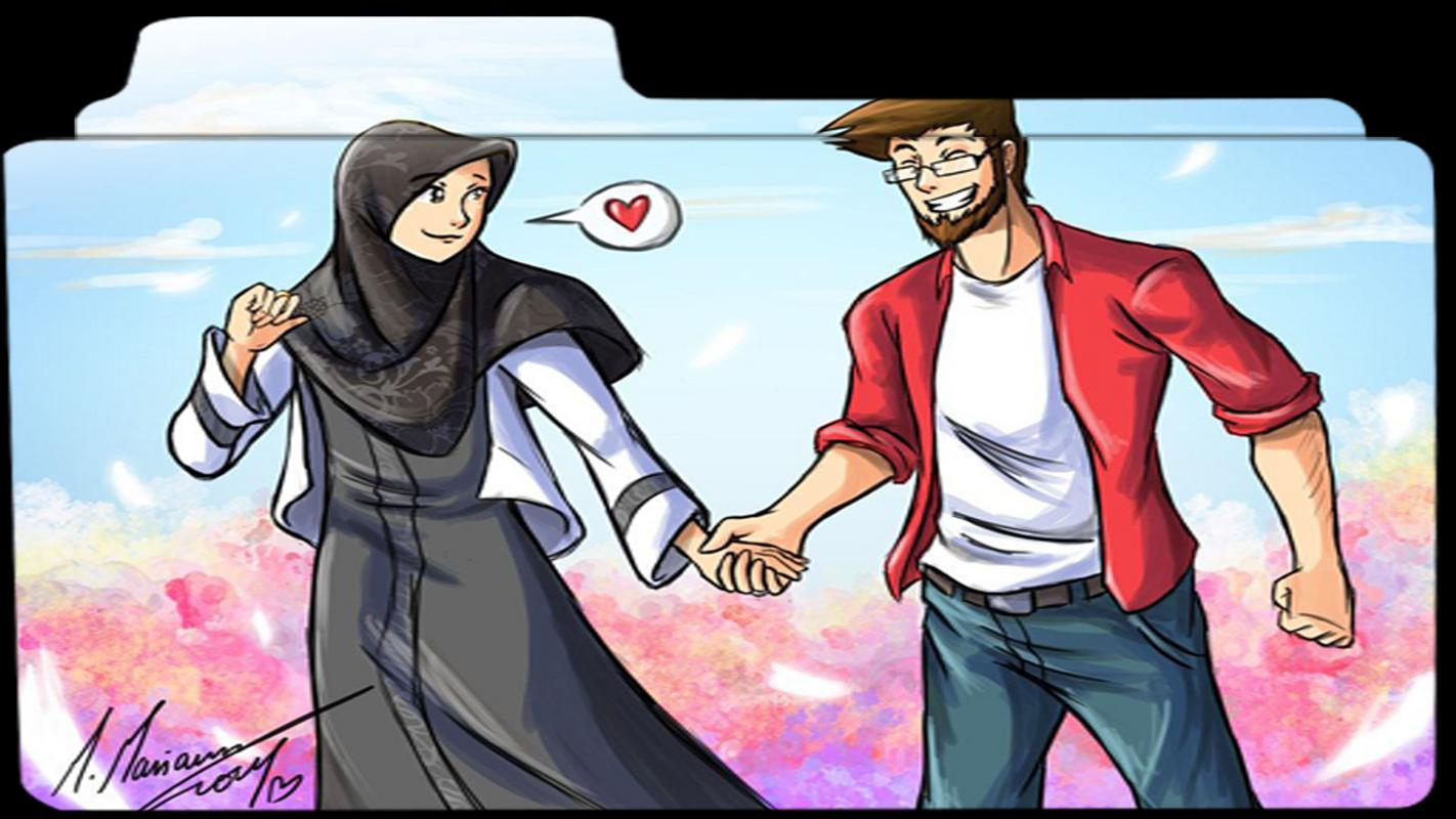 Muslim Couple Cartoon Wallpaper For Android