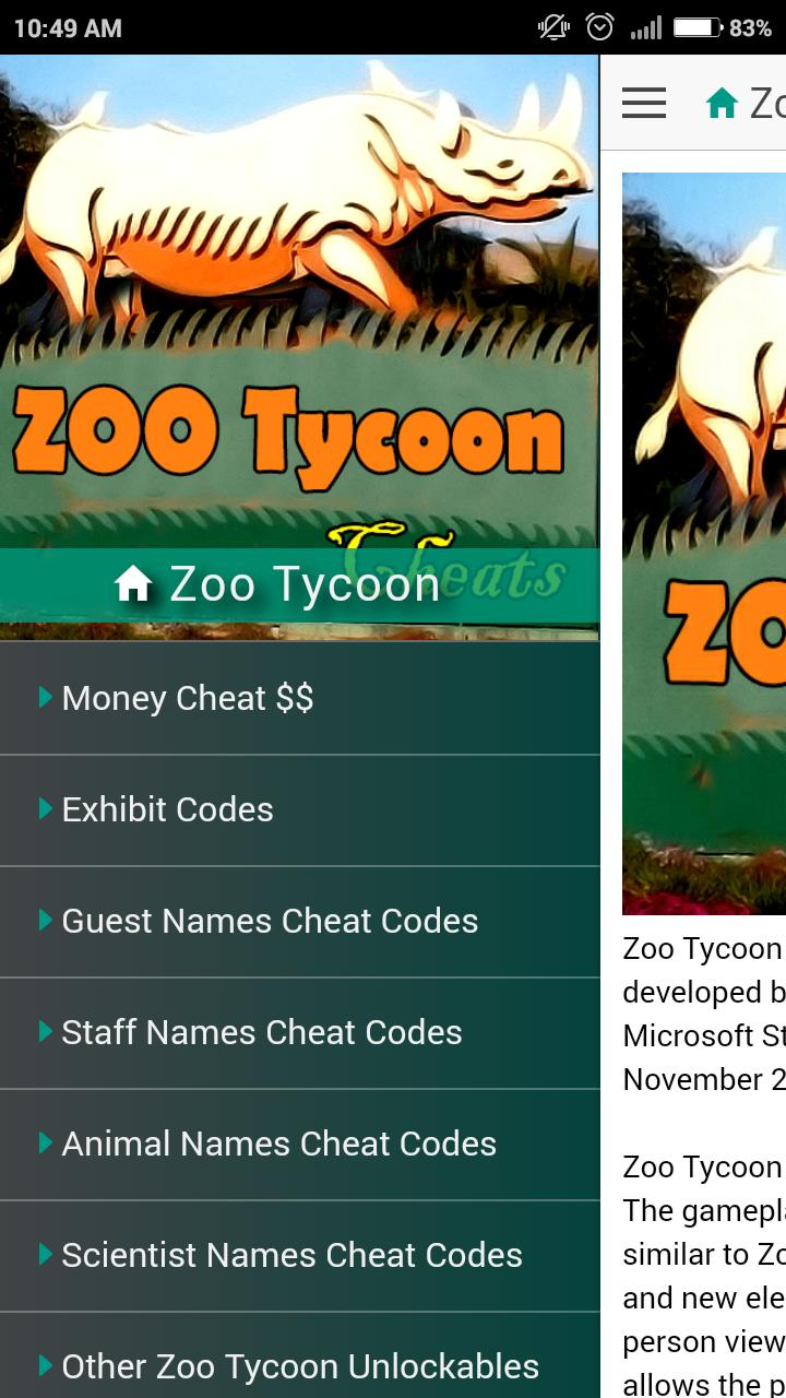 Cheat Code for Zoo Tycoon Game for Android - APK Download