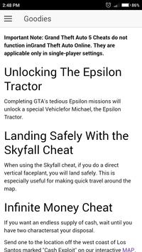 ... Cheat Codes for GTA 5 Games apk screenshot ...