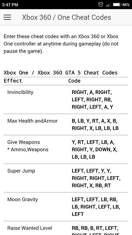 Cheat codes for gta 5 xbox 360 cars.