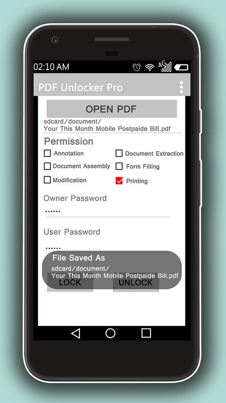 unlock pdf password android