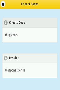 Cheats - GTA Vice City apk screenshot