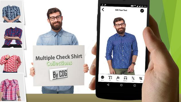 Man Check Shirt Photo Suit screenshot 2