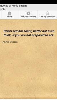 Quotes of Annie Besant poster