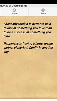 Quotes of George Burns apk screenshot