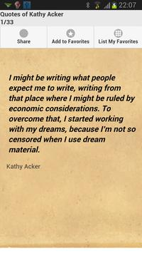 Quotes of Kathy Acker poster