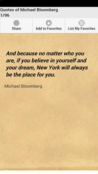 Quotes of Michael Bloomberg poster