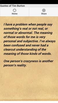 Quotes of Tim Burton apk screenshot