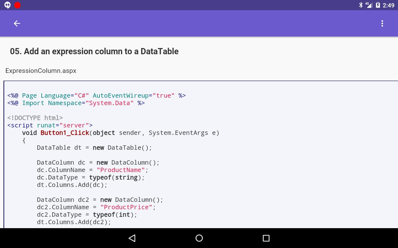 Tutorials For ADO NET C# for Android - APK Download