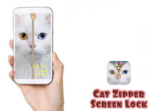 Cat Zipper Screen Lock Free poster