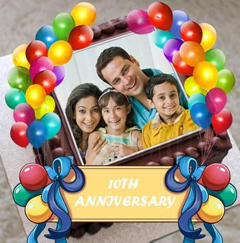 Birthday & Anniversary Cake Photo Frame With Name poster