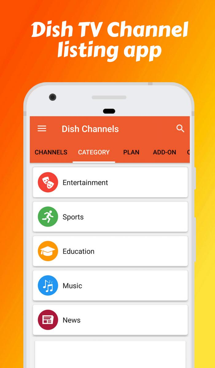 Channel list, channel Recharge for Dish TV DTH app for Android - APK