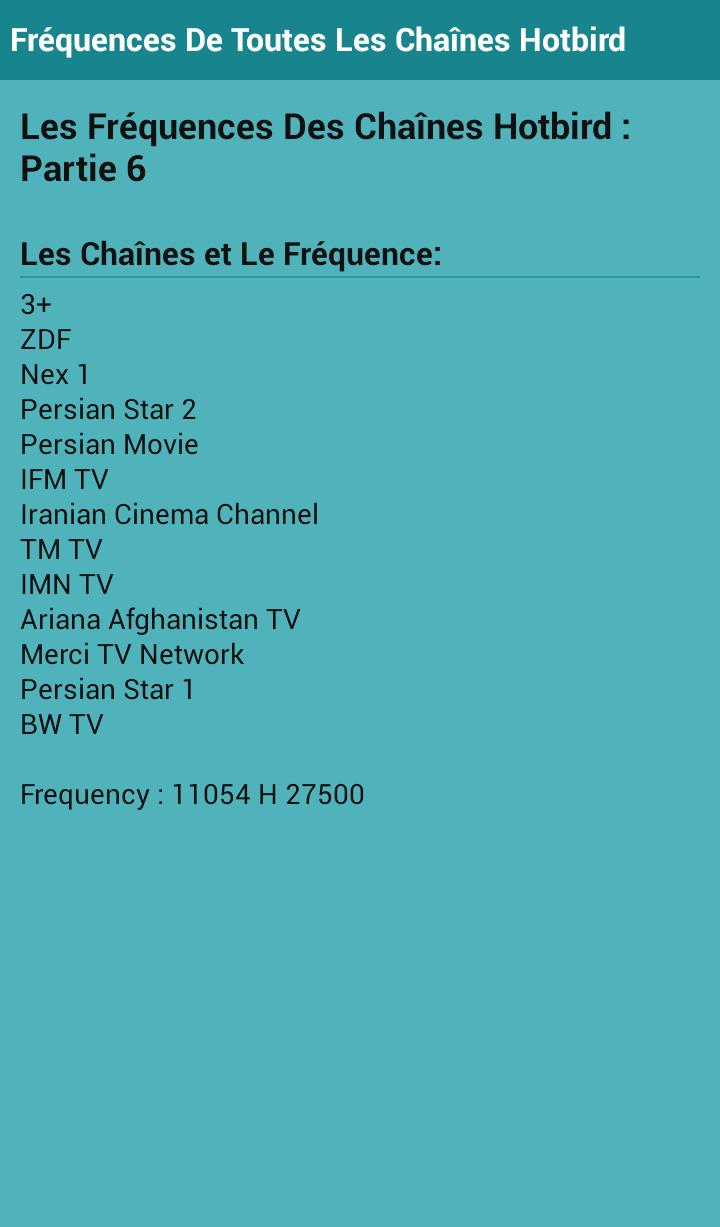 Frequency Of Channels Hotbird for Android - APK Download