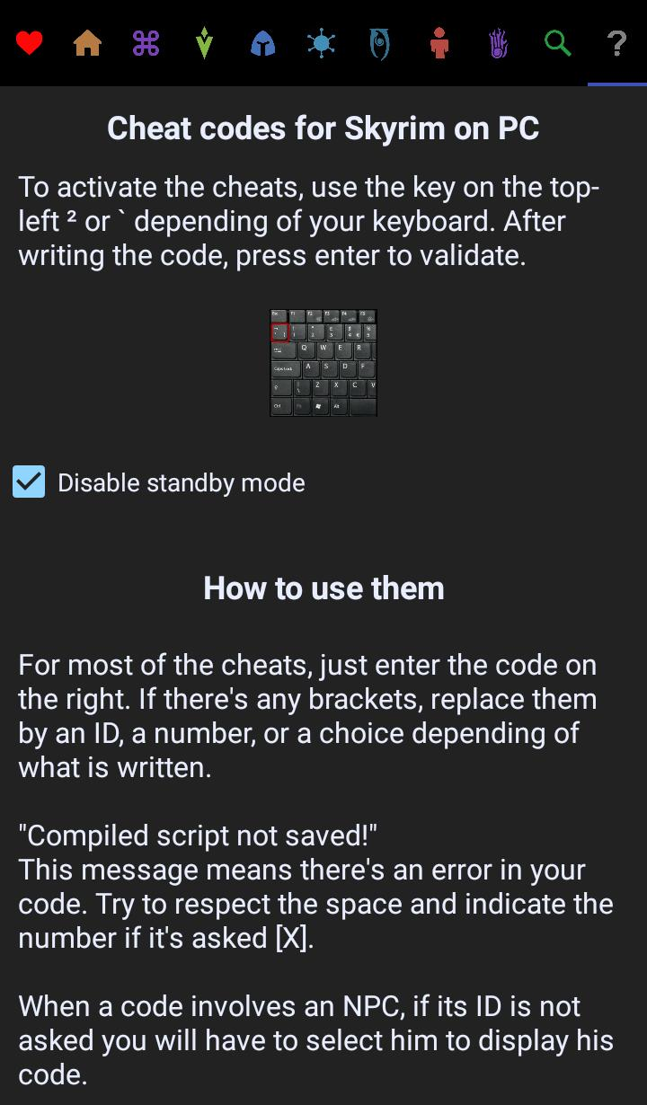 Cheat Codes for Skyrim for Android - APK Download