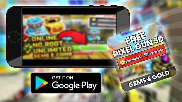 Free Pixel Gun 3d Coins : Prank screenshot 1