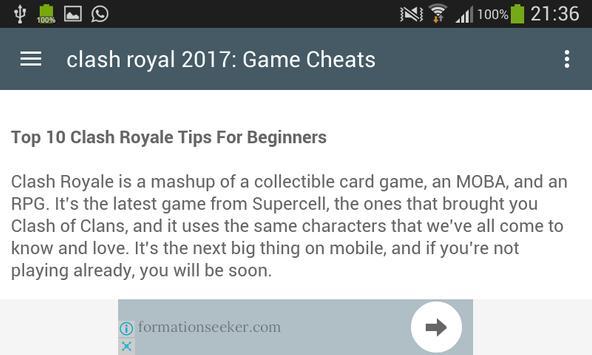 Cheats For Clash Royale 2017 screenshot 1