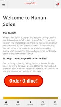 Hunan Solon Online Ordering poster