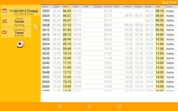 Chinsoft THSR Timetable screenshot 4