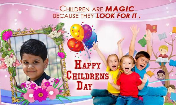 Childrens Day Photo Frame Maker poster