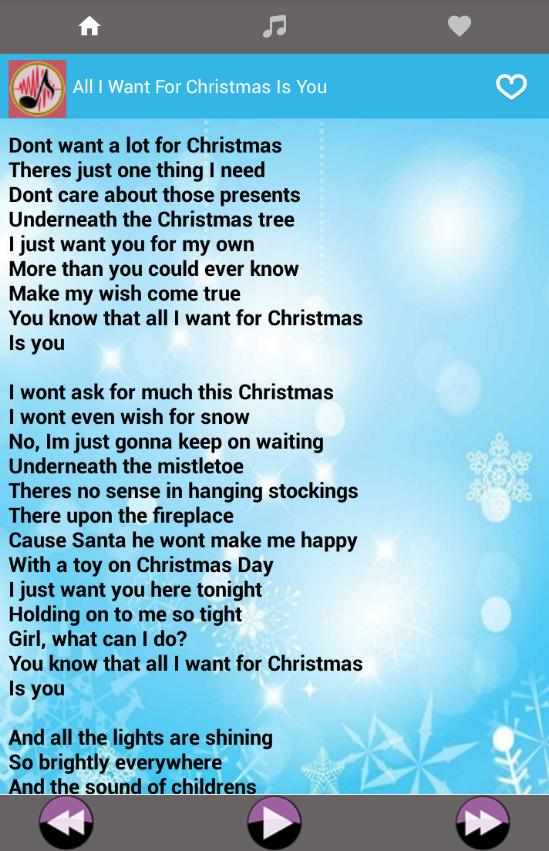 I Dont Want A Lot For Christmas Lyrics.Christmas Song Praise And Worship Music Lyrics For Android