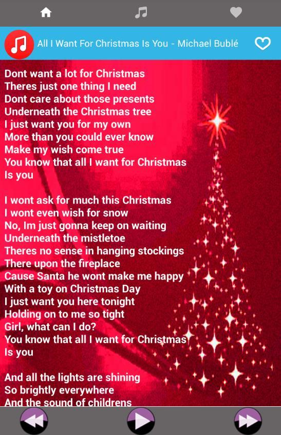 I Dont Want Alot For Christmas Lyrics.Christmas Songs Best Music Lyrics New For Android Apk