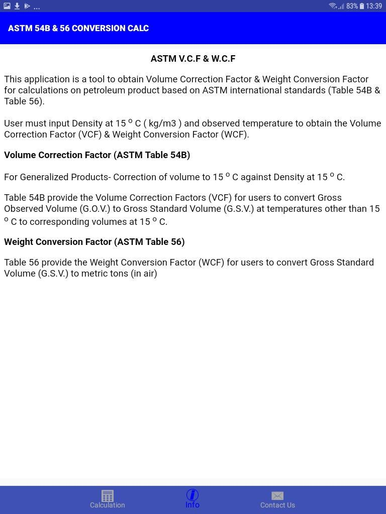 ASTM 54B & 56 CONVERSION CALC for Android - APK Download