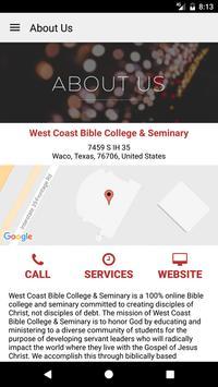 West Coast Bible College apk screenshot