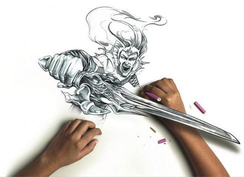 Pencil sketch 3d poster