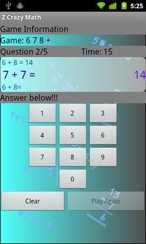 Z Crazy Math apk screenshot