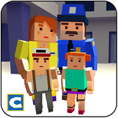 Blocky Police Dad Family: Criminals Chase Game icon