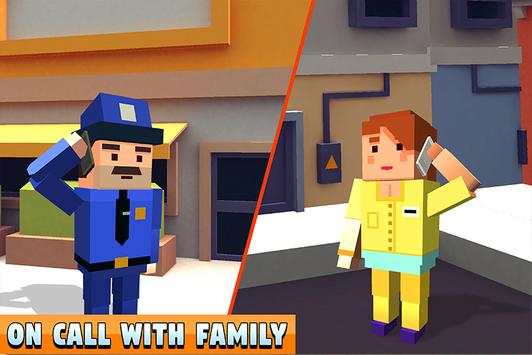 Blocky Police Dad Family: Criminals Chase Game screenshot 3