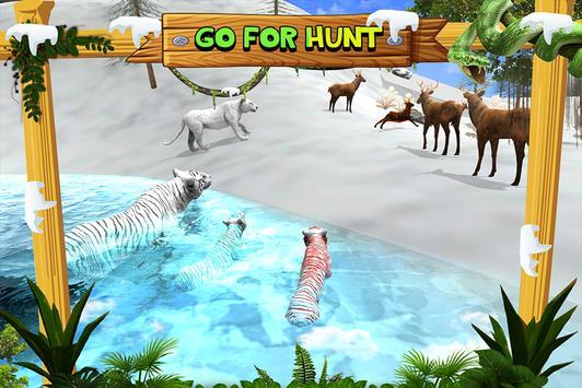 White Wild Tiger Family Survival 3D screenshot 2