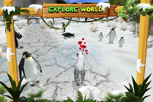 White Wild Tiger Family Survival 3D screenshot 3
