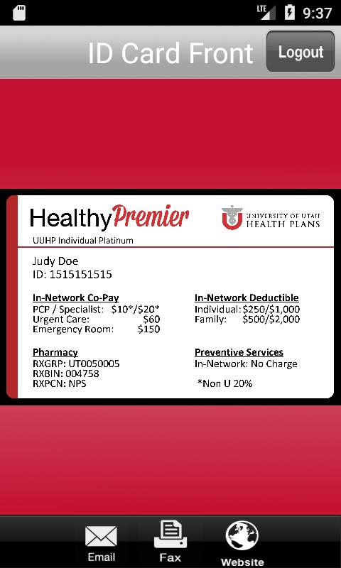 University of Utah Health Plans ID Card for Android - APK