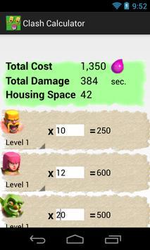 Calculator for Clash apk screenshot