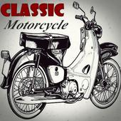 Classic motorcycle design icon