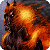 Black horse on fire Live WP icon