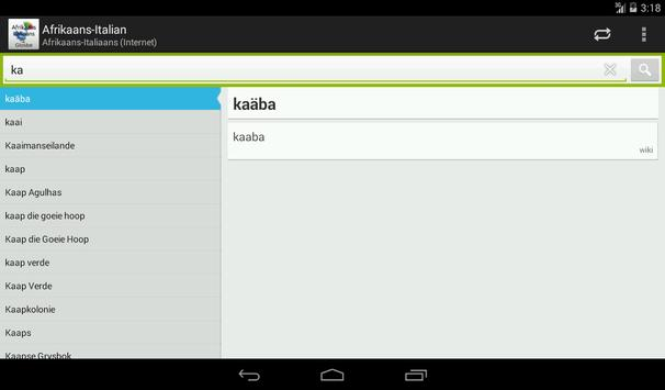 Afrikaans-Italian Dictionary screenshot 12