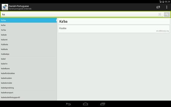 Danish-Portuguese Dictionary apk screenshot