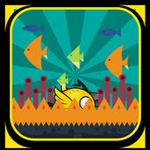 Flying bird under water icon
