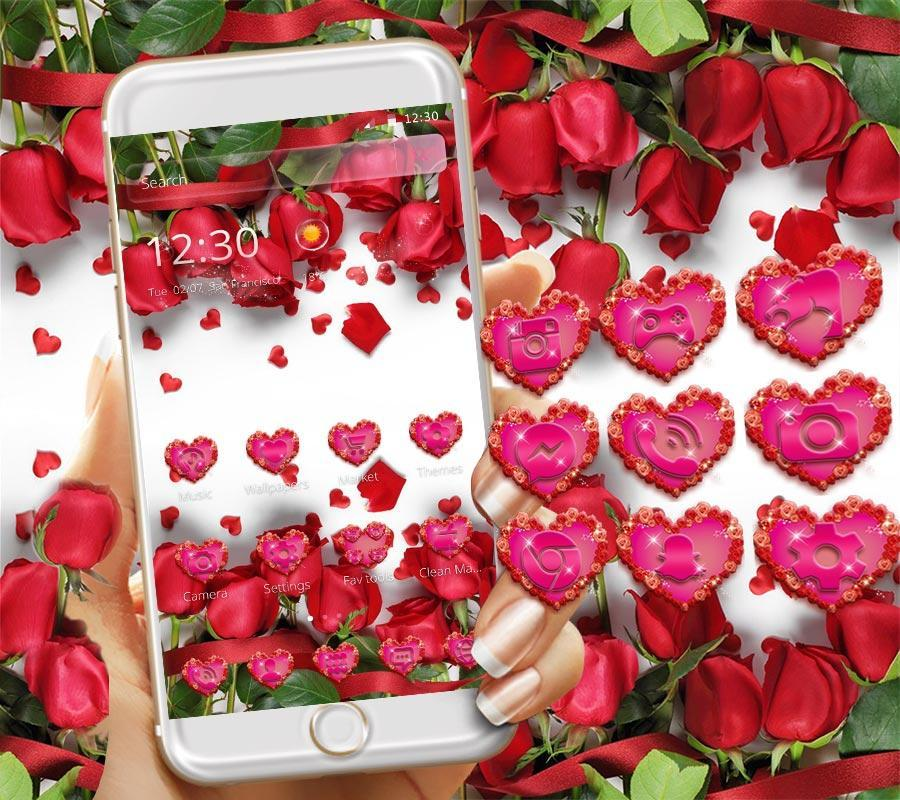 Red Rose Theme Wallpaper Roses Lock Screen Poster