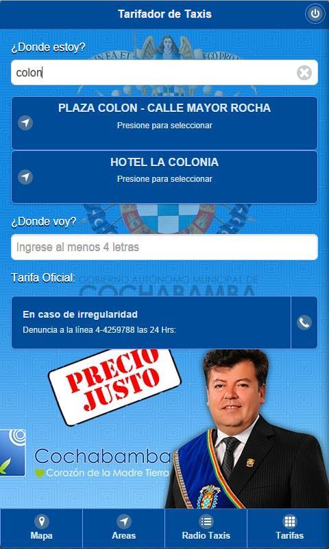 Tarifas Taxis Cochabamba poster