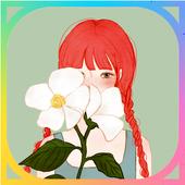 카카오톡 테마 - 꽃과 소녀 icon