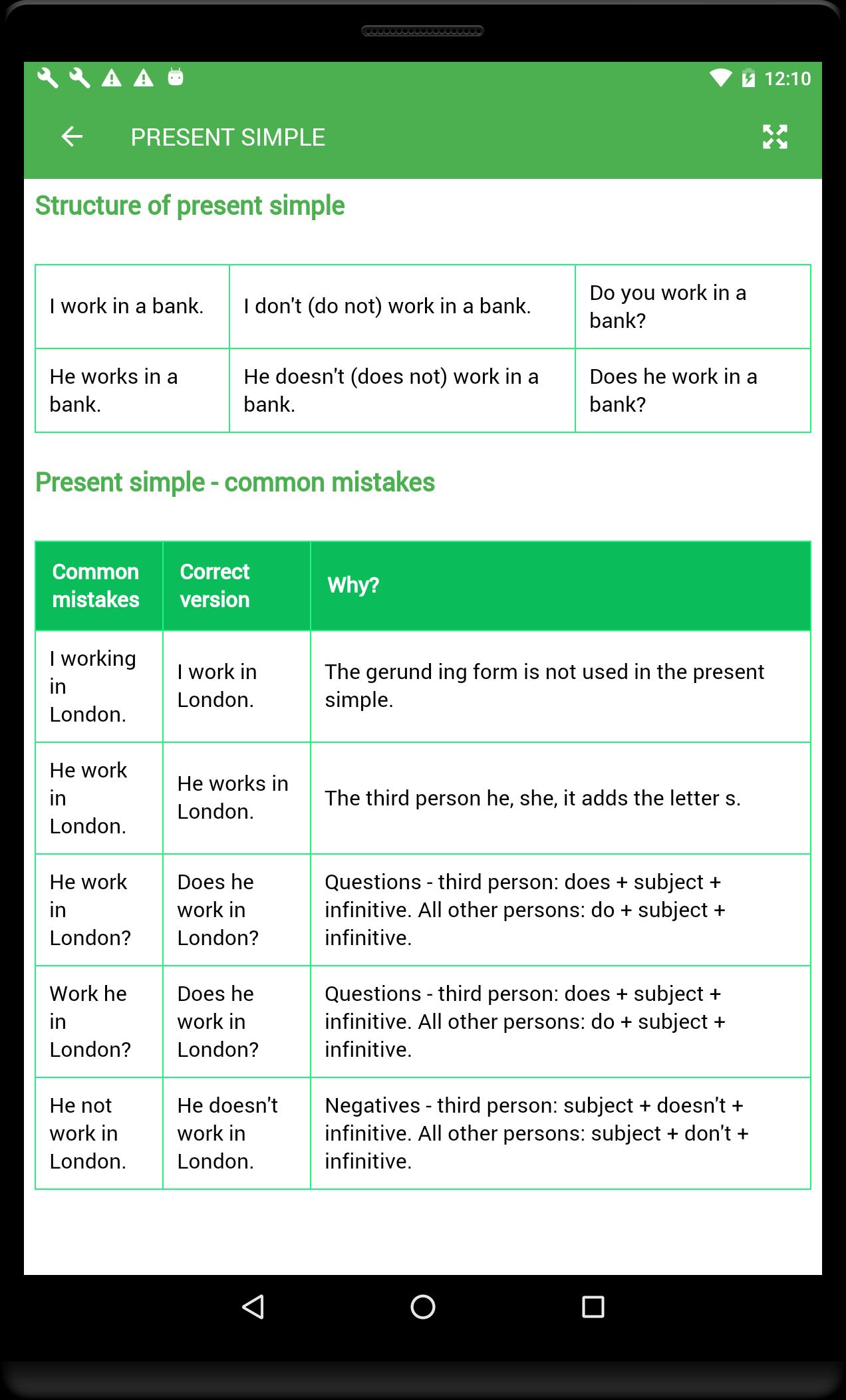 English Tenses for Android - APK Download