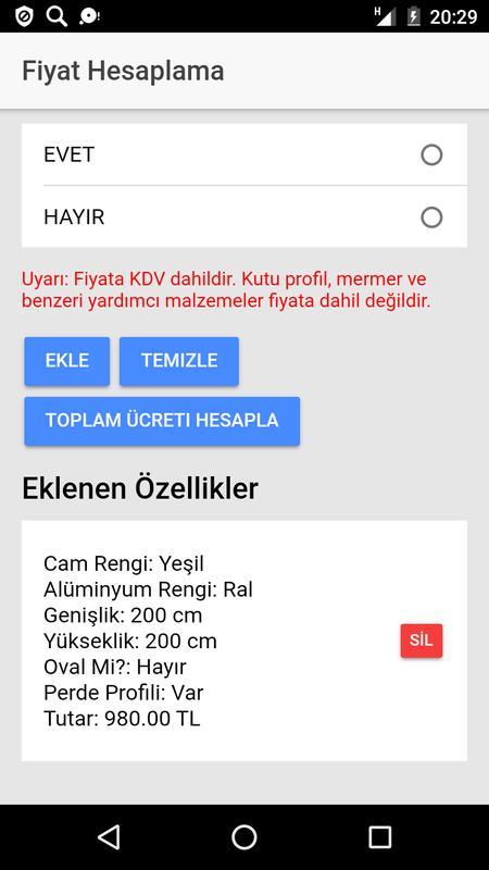 Izmir Cam Balkon Fiyat Hesaplama For Android Apk Download