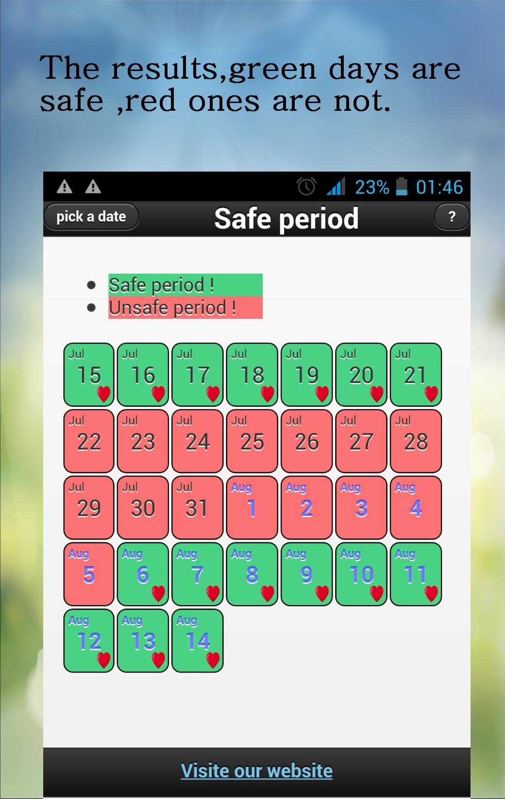 safe sex calculator in Bendigo