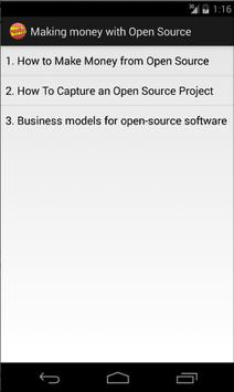 Making money with Open Source apk screenshot