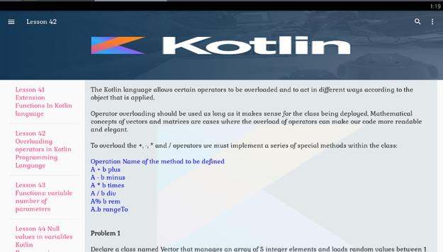 Kotlin tutorial lessons offline for android apk download.