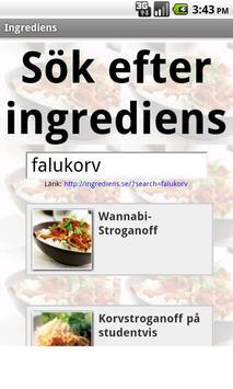Ingrediens apk screenshot