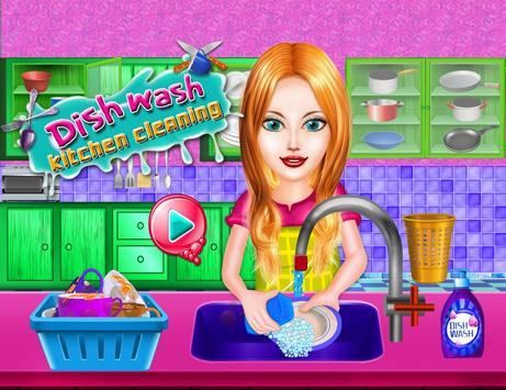 Dish Wash Kitchen Cleaning - Game for Girls poster